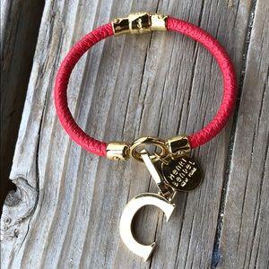 henri bendel Leather Gold Tone C Charm Bracelet!